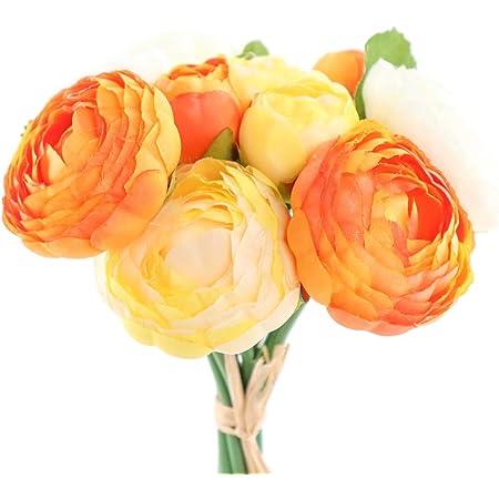 NEW ARTIFICIAL SILK FLOWER RANUNCULUS BOUQUET BUNCH CERISE PINK ORANGE YELLOW