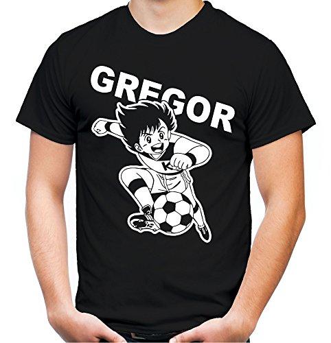 Gregor Männer und Herren T-Shirt | Kickers Fussball Comic 90er Kult (L, Schwarz)