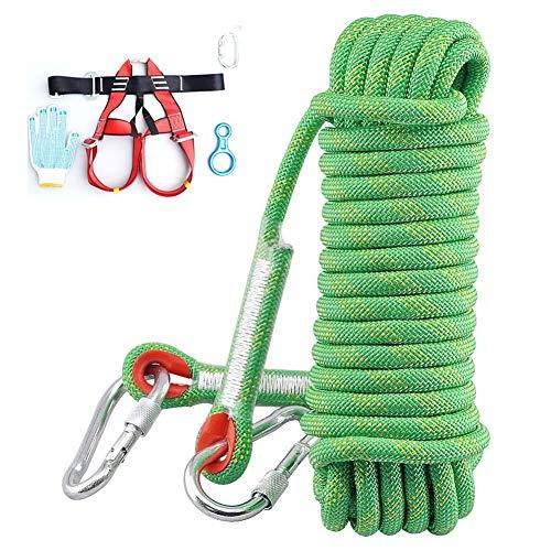 HMLIGHT Outdoor Stand Rock Climbing Rope Set, 10 mm (3/8 Zoll) Durchmesser, Feuerleiter Sicherheit Rettungs Abseilen Seil mit Karabiner: 32_ft, 64_ft, 96_ft, 160_ft Optional,Grün,49ft/15m