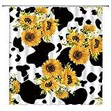 Sonnenblumen-Duschvorhang, schwarz-weiß, Milchkuh-Aufdruck, verschiedene Sonnenblumen, kreativ, lustig, rustikal, Kunst, Badezimmer, Dekoration, Stoffvorhang mit 12 Haken, 177 x 177 cm, Gelbbraun