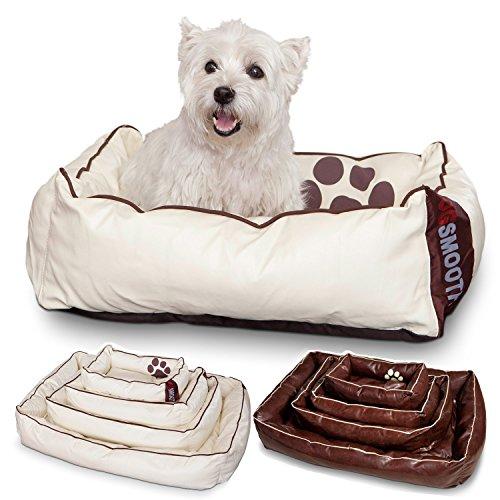 Smoothy Hundekorb aus Leder; Hunde-Körbchen; Hundebett Vierbeiner; Beige-Weiß Größe S