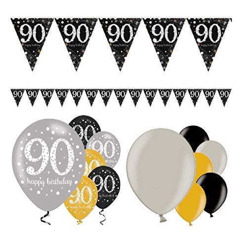 Feste Feiern Geburtstagsdeko 90. Geburtstag | 13 Teile Deko-Set Luftballon Wimpel Girlande Banner Gold Schwarz Silber metallic Party Happy Birthday 90
