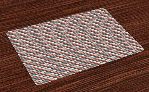 ABAKUHAUS Retro Platzmatten, Muster des Mosaiks mit geometrischer Entwurfs-altmodischer Gitter-Art-Achteck-Fliese, Tiscjdeco aus Farbfesten Stoff für das Esszimmer und Küch, Mehrfarbig