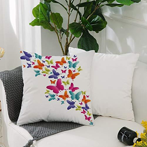 Fundas Cojines de Poliéster -50x50cm,Arcoiris, mariposas inspiradas en la naturaleza en varios tamañ,Fundas de Almohada Decoración con Cremallera Invisible para Sala de Estar, sofá, Dormitorio o Coche