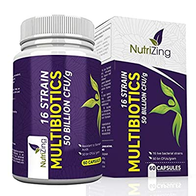 NutriZing's Multi-Strain Probiotic Supplements ~ 16 strains of beneficial live bacteria ~ 50 billion CFU ~ Multi strain formula for IBS relief ~ Immune System Booster ~ Acid resistant delayed release capsules ~ 100% Vegetarian ~ Made in UK ~ Effective Tre