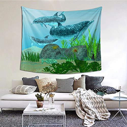 Tapiz de Pared,Dolphin Reef Tapestry (Colgante de Pared) Decoración de Pared Mural del hogar para Dormitorio Sala de Estar 152cmx130cm