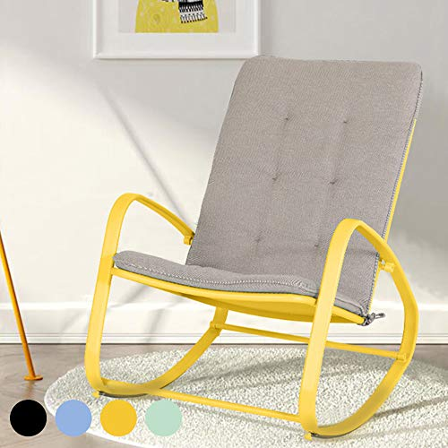 PHI VILLA Outdoor Patio Metal Rocking Chair, Padded Modern Rocker Chairs with Cushion, Support 301lbs for Porch, Deck, Balcony or Indoor Use (1PCS, Yellow)
