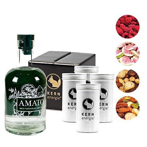 Amato Gin Geschenkset   Gin Set mit Premium Nussmischungen und gefriergetrockneten Früchten zur Aromatisierung von KERNenergie