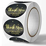 Thank You Stickers,500Pcs 1.5' Thank You for Your Order Stickers,Round Black Thank You Labels,Suitable for Envelopes,Kraft Paper Bags,Gift Bags,Bubble Mailer Seals