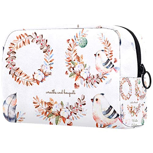 Cosmetic Bag Makeup Bags for Women, Small Makeup Pouch Travel Bags for Toiletries - Flower Wreath Letter Cotton Garland Feather Bird