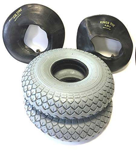 Rollstuhlreifen 2 Stück 4.00-5, grau, 2 Stück Schlauch Winkelventil, Reifen kräftiges Blockprofil, Stabiler 4 PR Reifenaufbau, Rollstuhl Reifen für Elektromobil, Scooter, E-Rollstuhl