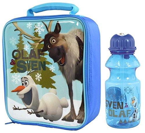 Disney Frozen Olaf, Sven. Tritan-Borsa termica per il pranzo con borraccia con cannuccia, 400 ml