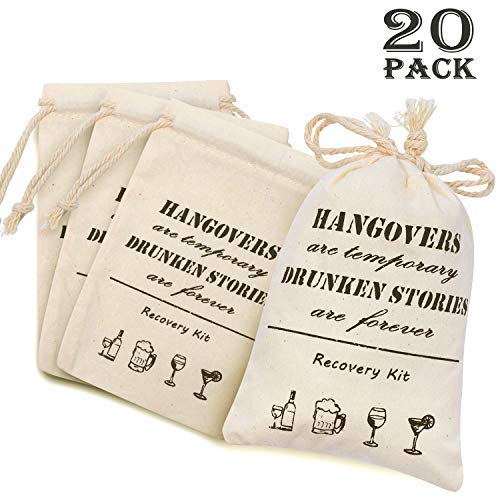 Whaline Fall Bachelorette Hangover Kit Bags 20 Pcs Cotton Recovery Kit Bags Muslin Drawstring Bag for Bridal Shower Wedding Party Gift Decoration(4' x 6')