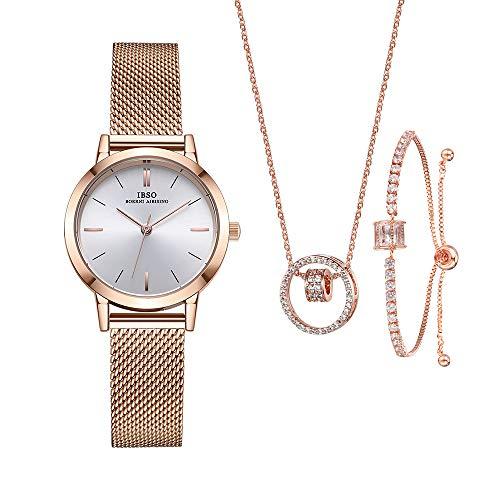 IBSO Mujer Relojes Conjunto para Mujeres Regalos para Mujeres Madres Esposa Reloj Pulsera Collar Brazalete Cuarzo Relojes de Pulsera (3630RG SL006 DZ0004)