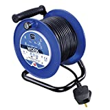 Masterplug LDCC2513/4BL-MP Four Socket Medium Open Cable Reel Extension Lead with Handle, 25 Metres, Blue