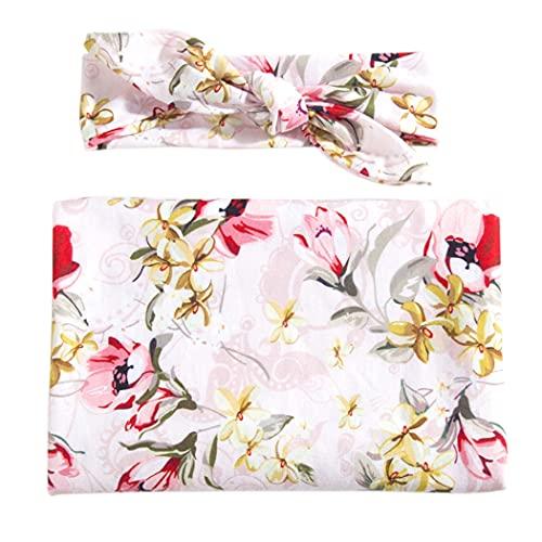 Lnrueg Couverture D emmaillotage pour Bébé en Coton Imprimé Doux Mignon Couverture De Réception avec Bande De Cheveux Fleur Florale Accessoires Photo Wrap