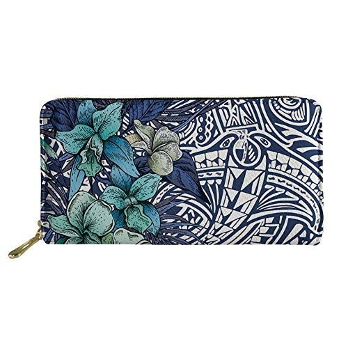 Aulaygo Women Girls Ladies Zip Around Long Wallet PU Phone Clutch Pocket Travel Card Holder Coin Purse, Polynesia Flower Blue