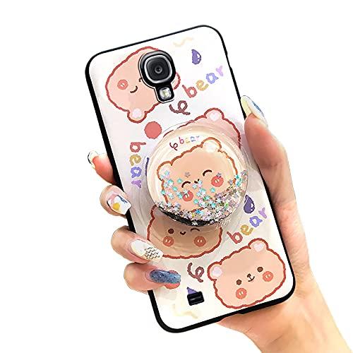 Funda para Samsung Galaxy S4/I9500, antigolpes, duradera, antipolvo, antipolvo, antigolpes, diseño de dibujos animados, impermeable, suave, con estrellas, soporte de líquido, TPU, oso naranja