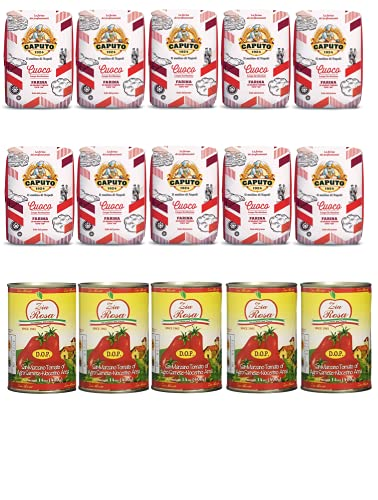 Testpaket Caputo Cuoco Pizzamehl Mehl ( 10 x 1Kg ) + Zia Rosa DOP Pomodoro San Marzano Tomate dosen ( 5x 400g )