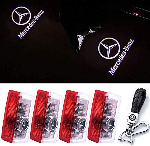 4 luces LED para puerta de coche, con logotipo, luces de señalización para coche, luces de bienvenida, símbolo de luz de bienvenida, luces de suelo, compatible con Mercedes-Benz (4 unidades + llavero)
