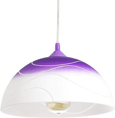 Lustre d'intérieur Adania en verre blanc et violet dans un style rétro élégant abat-jour Ø30cm E27 idéal pour salle à manger cuisine