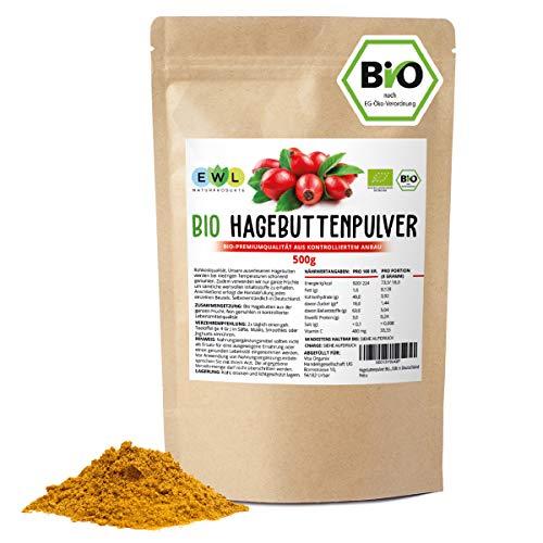 Hagebuttenpulver Bio 0,5 kg Bio Hagebuttenpulver | Ganze gemahlene Hagebutte | Hagebuttenpulver aus kontrolliertem Anbau | Rohkostqualität | Kontrolliert und abgefüllt in Deutschland
