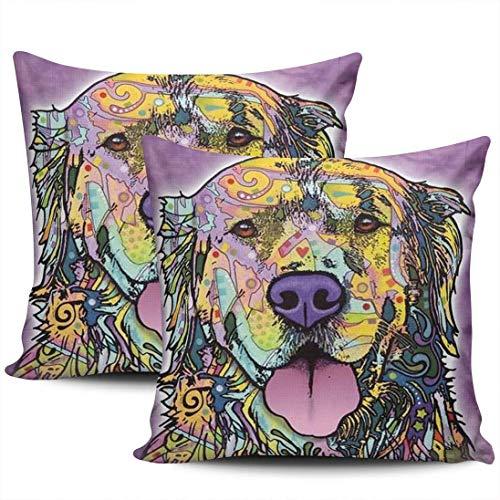 Decoración del hogar Fundas de Almohada Animal Acuarela Bulldog Perro Bull Terrier Fundas de Almohada Cuadradas Estampado de Dos Lados 45 * 45cm Juego de 2
