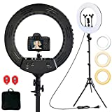 18 inch Ring Light kit, Dimmable LED Ring Light with 2 Wireless Remote, 3 Rotatable Phone Holder, 33-79' Light Stand, Carrying Bag for Photo Studio Lighting Portrait YouTube TikTok Video Shoot Camera