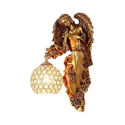 LITFAD - Lámpara de pared con forma de ángel (cristal transparente), color dorado, 6.00watts, 110.00 volts