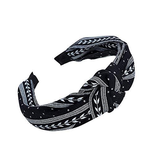 YWLINK Mode Knoten Haarband Frauen Kopfband Süß MäDchen Klassisch Breit Waschen Haarband(Schwarz)