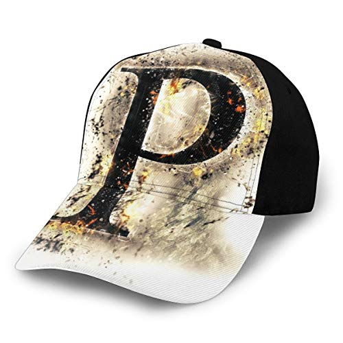 Hip Hop Sun Hat Baseball Cap,P Symbol Embers On Blazing ABC Font...