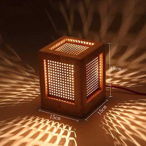Easy Fit Color de madera 15 × 15 × 19 cm Creatividad nórdica Lámpara de mesa de madera maciza, Simple botón de interruptor de encendido de arte de madera dormitorio Lámpara de cabecera es bonito