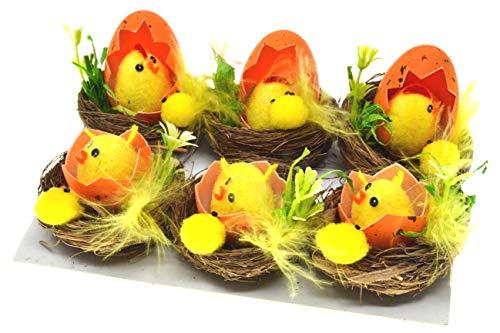 6 polli pasquali Mini soffici pulcini pasquali Pulcini giocattolo Uovo di Pasqua Polli Uova di Pasqua gialle Polli di Pasqua Nidi di pollo Caccia alle uova