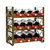 PRITI Rustic Stackable 12 Bottle Wine Rack 3 Tier Freestanding Wine Organizer Holder Stand Countertop Liquor Storage Shelf - Bronze 16.5' L x 7.0' W x 16.5' H-Patent Pen