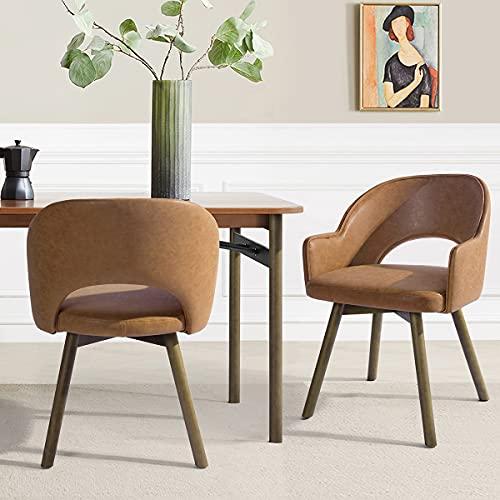 Juego de 2 sillas de comedor con reposabrazos y patas de madera de poliuretano, color marrón