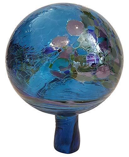 Oberstdorfer Glashütte Gartenkugel farbige Rosenkugel türkis marmoriert gelüstert dekorative Kristallglas Gartenkugel wetterfest mundgeblasen Durchmesser ca. 9 cm