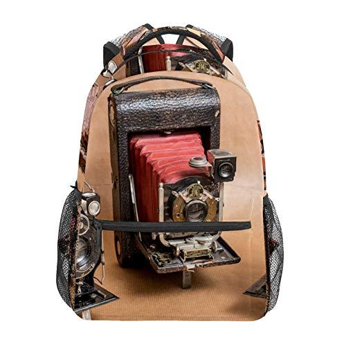 Mochila escolar de estilo retro, cámara clásica, casual, portátil, bolsa de lona para mujeres, niñas, niños, estudiantes, hombres y adultos.