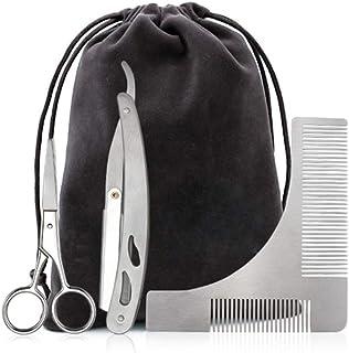 BYCOOR Beard Grooming Kit for Men, Beard Shaping Styling Gift Set with Inbuilt Comb, Straight Edge Razor, Scissors &Bag – ...