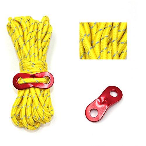 nobrand テント ロープ 反射材入りパラコード 長 4m 8本 ガイライン ガイドロープ アルミ自在金具付 5mm 耐荷重 250kg