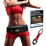 RunningBeltMax Running Belt Waist Pack -- Waterproof Fanny Pack for iPhone, Samsung Galaxy, Android - 3 Pockets, Black