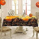 Mantel de Halloween, Mantel Decorativo para Halloween, Mantel de Terror de Halloween,Calabaza Aterrador,para Decoración de Fiesta de Halloween en Interiores y Exteriores. (137*225)