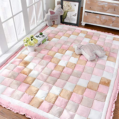 HXSKI Tatami Soft Indoor Carpet,Korean Style Area Rug,Kids Floor Mat Household Crawling Rugs,Short Plush Rugs,For Bedroom Floor Sofa-A 150x200cm(59x79inch)