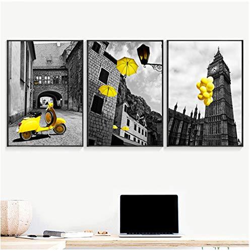 A&D zwart wit affiches en prints geel motorfiets ballon paraplu canvas kunst schilderij wandschilderij voor woonkamer -50x70cmx3pcs -Nee Frame
