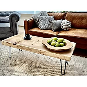 Authenzio Couchtisch   Zirbenholz massiv   naturbelassener Stil   echte Baumkanten   Haarnadel Metallbeine schwarz
