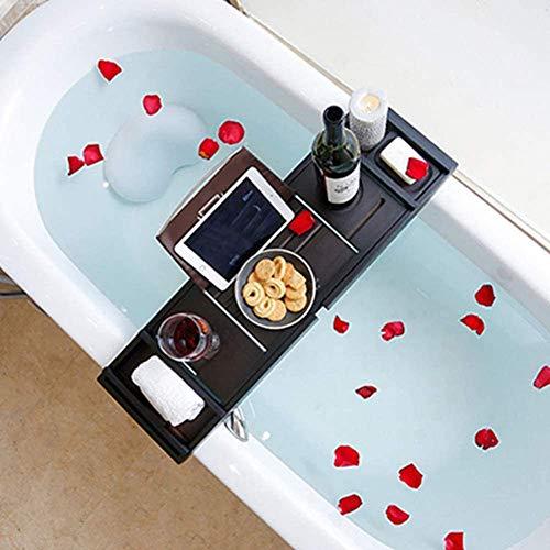 WCYDRUM Bamboo Bath Tray Bathtub Caddy Extendable Bath Rack Bridge with Wine Glass Holder Book Phone iPad Rest