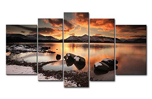 So Crazy Art -Puesta de Sol Paisaje Cuadros en Lienzo Montaña y Piedras en el Mar Decoracion de Pared 5 Piezas Modernos Mural Fotos para Salon,Dormitorio,Baño,Comedor