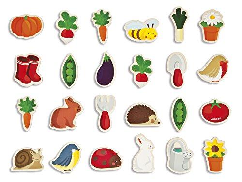 Janod- Garden Imanes de Madera 24 Unidades, Multicolor, 14,5 x 8 x 14,5 cm (Jura Toys J08156)
