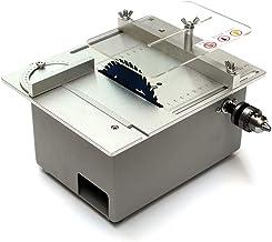 isunking Mini Motor DIY Mini Sierra de Mesa, Mini Máquina de Corte de Escritorio Sierra de Banco Torno de Sierra Para Carpintería con Control de Velocidad Motor 895 360W