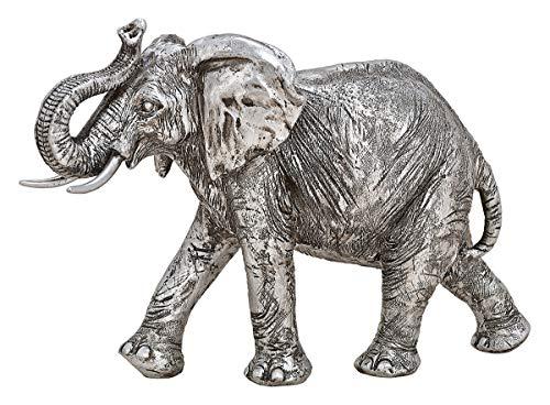 NAMENLOS Großer Elefant mit erhobenem Rüssel, Silber | Tier-Figur, Skulptur, Statue, Deko-Figur, Deko-Artikel, B 28 cm