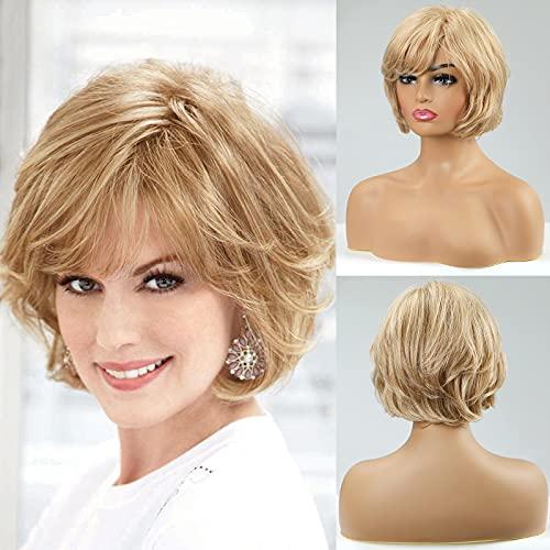 EMMOR Blonde Echthaar perücken für Frauen, natürliche Wellenhaarperücke mit Seitenteil, weiches Haar / leicht / atmungsaktiv (Farbe 30/613)